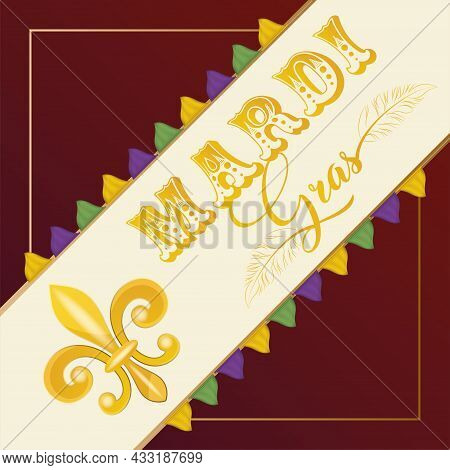 Isolated Label With A Fleur De Lis Colored Mardi Gras Poster Vector