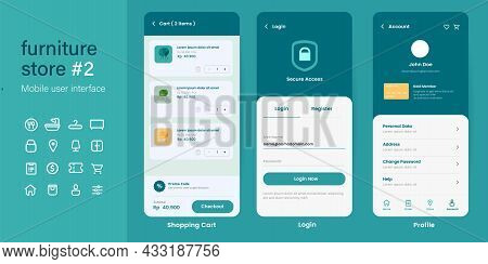 Ui User Interface Mobile App Design Layout Interface Of Furniture Online Store E-commerce From Login
