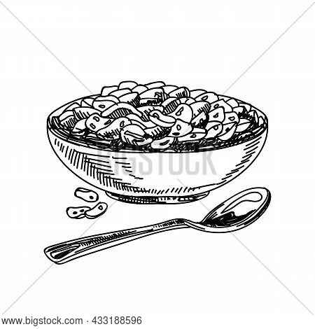 Cornflakes Hand Drawn Black And White Vector Illustration. Retro Bowl With Flakes Sketch. Corn Flake