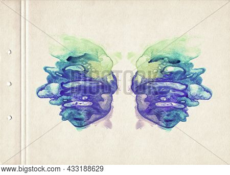 Card Of Color Rorschach Inkblot Test. A Sheet Of Old Textured Paper Stained With Vibrant Symmetric W