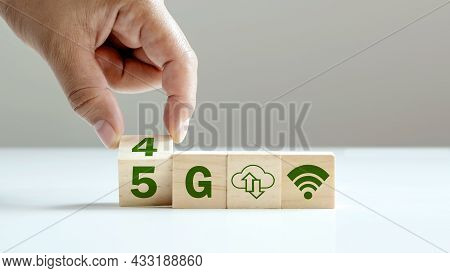 Turning The Cube Symbolizes The Transformation From 4g To 5g, 5g Network (5th Generation) Connects T