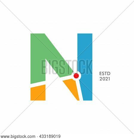 Simple And Modern Illustration Logo Design Initial N Map.