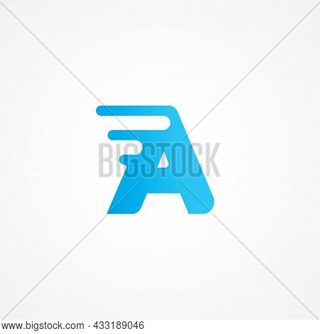 Vector Illustration Of Letter A Streaking With Fluid Effect. Initial Alphabet Logo Design Template F