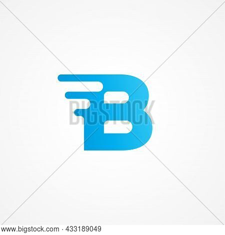 Letter B Shape Streaking With Fluid Effect. Initial Alphabet Logo Design Template For Kids Product,