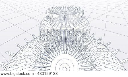 Abstract Technology Background With Gears Or Cog Wheels Scheme Or Blueprint In Perspective View