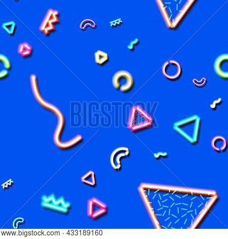 Neon Seamless Pattern With And 80s Or 90s Abstract Arcade Style