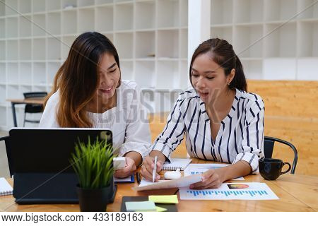 Group Of Businesswoman And Accountant Checking Data Document On Paperwork For Investigation Of Corru