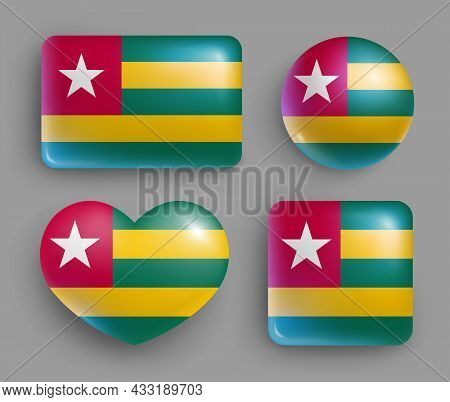 Set Of Glossy Buttons With Togo Country Flag. Western Africa Republic National Flag, Shiny Geometric