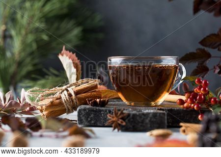Delicious Freshly Brewed Aromatic Tea In A Glass Cup With A Board And Various Natural Ingredients. T