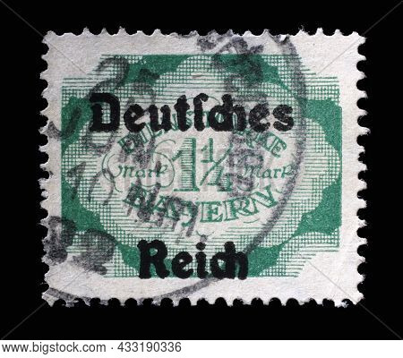 ZAGREB, CROATIA - JUNE 22, 2014: Stamp printed in in Bavaria shows Value on cloudy ground, circa 1920