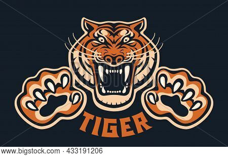 Roaring Tiger Head With Clawed Paws Front View Logo Design Template Icon