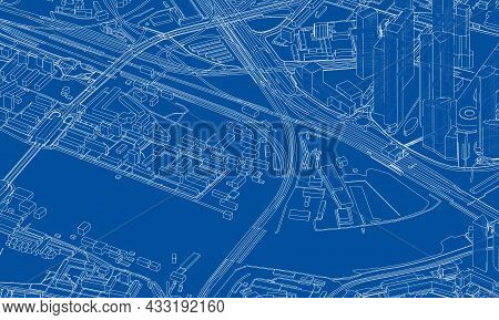 Urban Modern Landscape. Vector Rendering Of 3d. Wire-frame Style. The Layers Of Visible And Invisibl