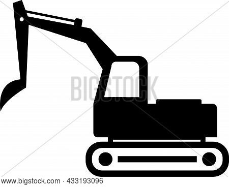 Excavator Silhouette Icon Sign. Signs And Symbols.