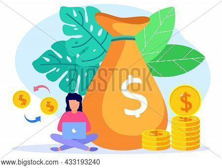 Vector Illustration Of Business Concept, Successful Entrepreneur With Fast Economic Growth And Incom