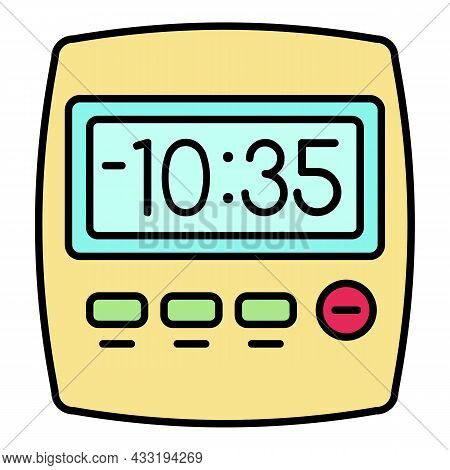 Clock Kitchen Timer Icon. Outline Clock Kitchen Timer Vector Icon Color Flat Isolated On White