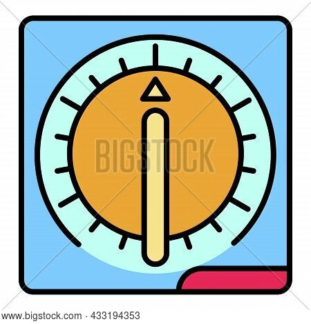Kitchen Timer Icon. Outline Kitchen Timer Vector Icon Color Flat Isolated On White