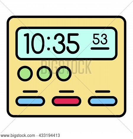 Room Digital Clock Icon. Outline Room Digital Clock Vector Icon Color Flat Isolated On White