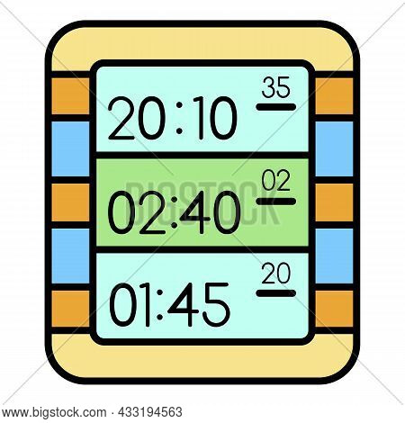 Multi Display Digital Clock Icon. Outline Multi Display Digital Clock Vector Icon Color Flat Isolate
