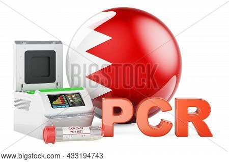Pcr Test For Covid-19 In Bahrain, Concept. Pcr Thermal Cycler With Bahraini Flag, 3d Rendering Isola