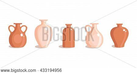 Clay Vases Set In A Flat Style. Antique Jug. Vector Illustration On A White Isolated Background.
