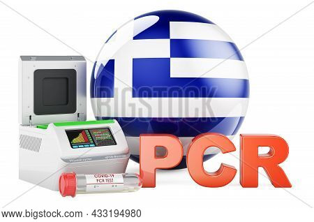 Pcr Test For Covid-19 In Greece, Concept. Pcr Thermal Cycler With Greek Flag, 3d Rendering Isolated