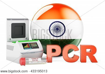 Pcr Test For Covid-19 In India, Concept. Pcr Thermal Cycler With Indian Flag, 3d Rendering Isolated