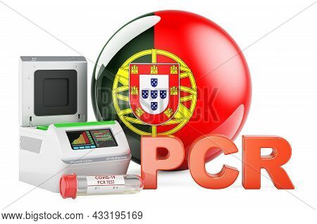 Pcr Test For Covid-19 In Portugal, Concept. Pcr Thermal Cycler With Portuguese Flag, 3d Rendering Is