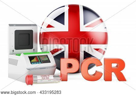 Pcr Test For Covid-19 In The Great Britain, Concept. Pcr Thermal Cycler With British Flag, 3d Render