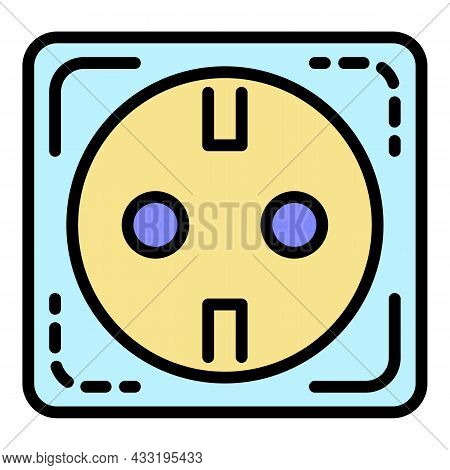 Euro Electric Socket Icon. Outline Euro Electric Socket Vector Icon Color Flat Isolated On White