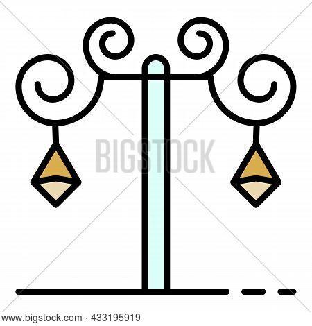 Anvil Street Light Pillar Icon. Outline Anvil Street Light Pillar Vector Icon Color Flat Isolated On