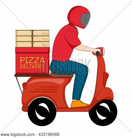 Pizza Delivery Boy in Red Uniform Riding Motorcycle. Courier Service Deliver Fast Food Ready Meal T