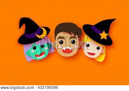 Cute Little Witch. Werewolf. Scary Green Skin Witch. Happy Halloween. Monsters Paper Cut Style. Funn