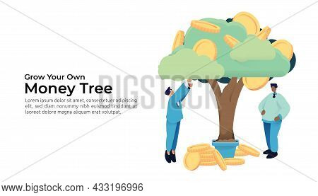 Businessman Character Picking Gold Coin From Money Tree. Returns On Investment Roi, Business Managem