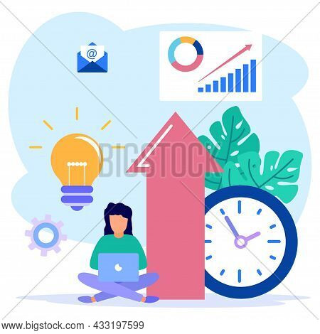 Vector Illustration Of A Business Concept, Website About Increasing Productivity, Character Of A Per