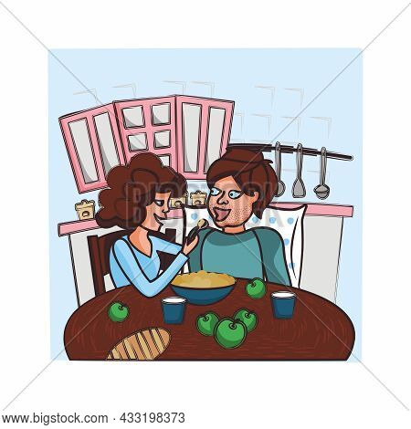 Vector Illustration Of A Woman And A Man. Husband And Wife. Kitchen. Household Life. The Woman Feeds