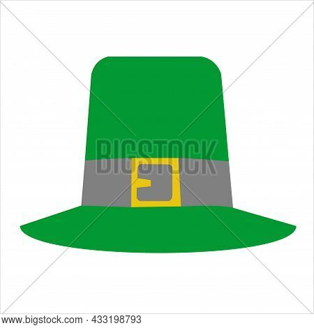 Green Pilgrim Hat Happy Thanksgiving Day Autumn Traditional Harvest Holiday Concept Flat Vector Illu