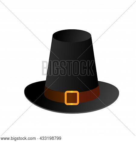 Black Gradient Pilgrim Hat Happy Thanksgiving Day Autumn Traditional Harvest Holiday Concept Flat Ve