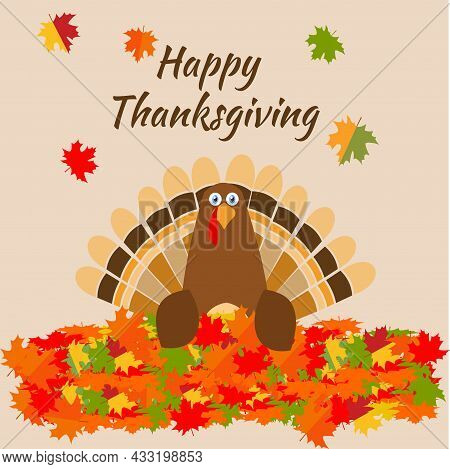 Thanksgiving Greeting Card Turkey Bird Pilgrim Hat. Funny Cartoon Character Holiday. Vector Illustra