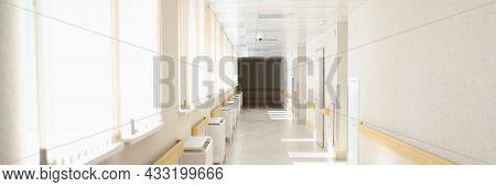 Solar Bright Light Shining From Windows Of Hospital Corridor