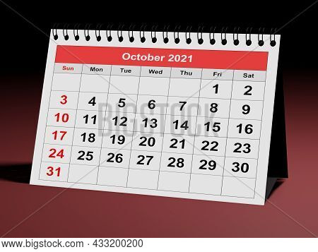 One Page Of The Annual Business Monthly Calendar. Date - Month October 2021. 3d Rendering