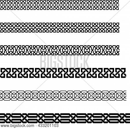 Seamless Greco-roman Border Pattern On Isolated White Background. Antique Texture Perfect For Backgr