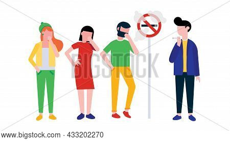 Group Of People. Boy Smokes Cigarette Near No Smoking Sign. Man, Woman And Girl Coughing In Their Ha