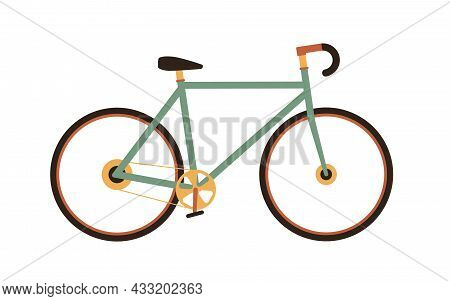Fixed-gear City Bike In Vintage 1970s Style. Single-speed Retro Road Bicycle With Chain, Frame And C