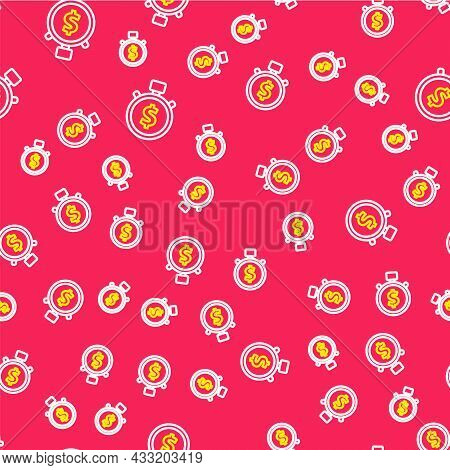 Line Time Is Money Icon Isolated Seamless Pattern On Red Background. Money Is Time. Effective Time M