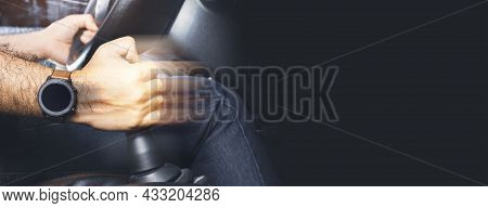 The Driver Controls The Gear Lever Of Manual Transmission In The Car And Black Background With Copy