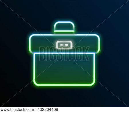 Glowing Neon Line Briefcase Icon Isolated On Black Background. Business Case Sign. Business Portfoli