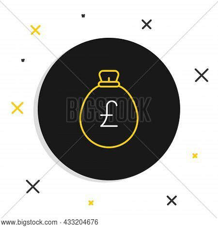 Line Money Bag With Pound Icon Isolated On White Background. Pound Gbp Currency Symbol. Colorful Out