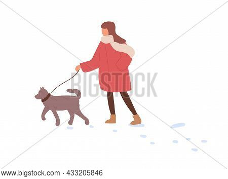 Child Walking With Dog In Winter. Kid Leading Puppy On Leash In Cold Weather With Snow. Girl, Pet Ow