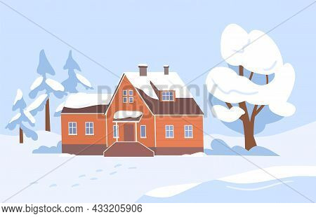 Village House And Trees Covered With Snow. Wintery Country Landscape With Wood Home In Serene Nature