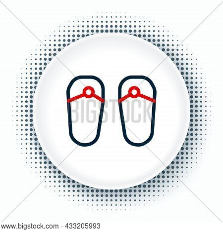 Line Flip Flops Icon Isolated On White Background. Beach Slippers Sign. Colorful Outline Concept. Ve